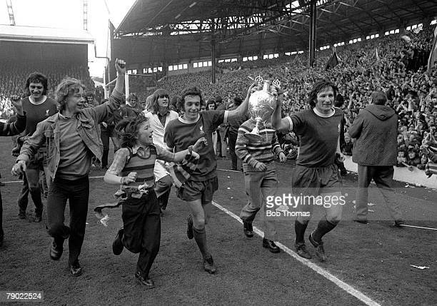 Football England League Division One 28th April 1973 Liverpool 0 v Leicester City 0 Liverpool's Ian Callaghan and Tommy Smith parade the League...