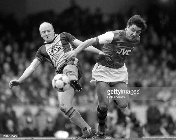 Football England League Division One 3rd April 1983 Arsenal 0 v Southampton 0 Arsenal's Brian Talbot challenges Southampton's David Armstrong for the...