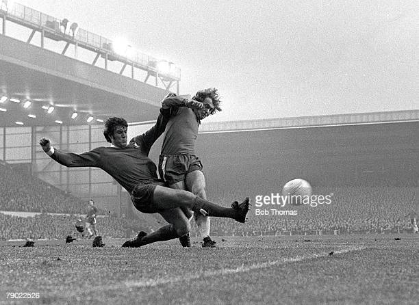 Football England League Division One 4th November 1972 Liverpool 3 v Chelsea 1 Liverpool's Emlyn Hughes slides in to tackle Chelsea's Steve Kember...