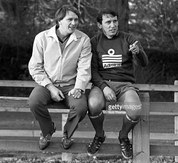 Football England Youth Team Training 9th November 1982 Lilleshall Senior England Team Manager Bobby Robson chats with England Youth Team Manager...