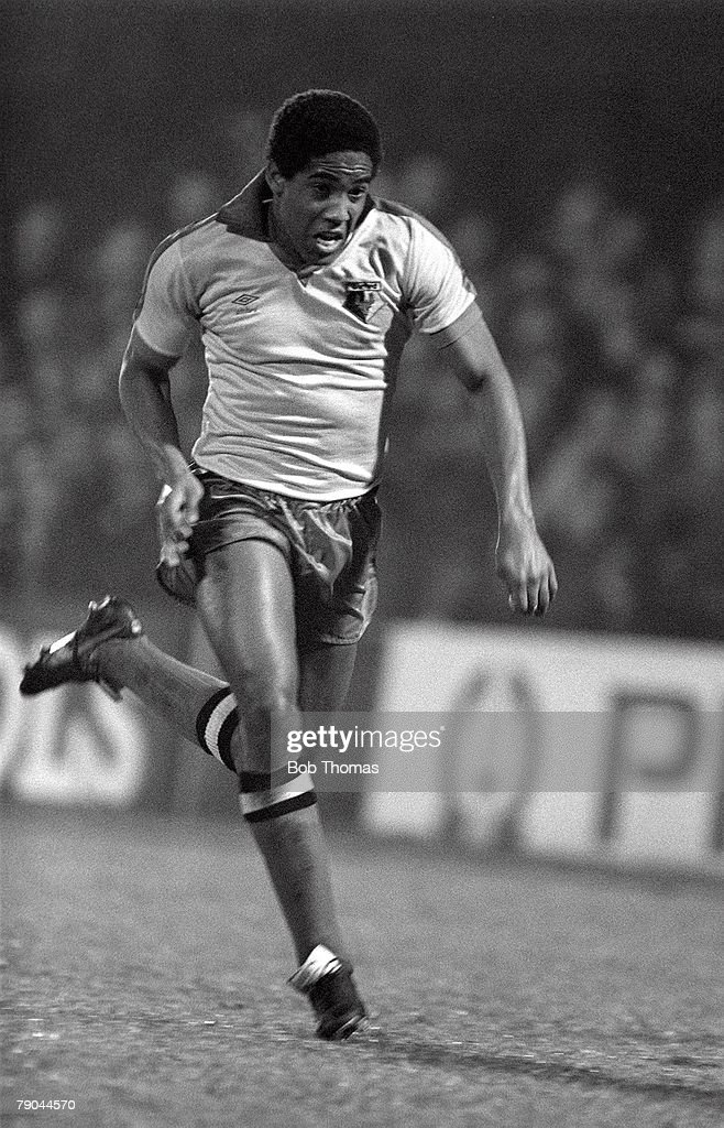 Football. English League Cup 5th Round. Ipswich, England. 18th January 1982. Ipswich Town 2 v Watford 1. Watford's John Barnes. : News Photo