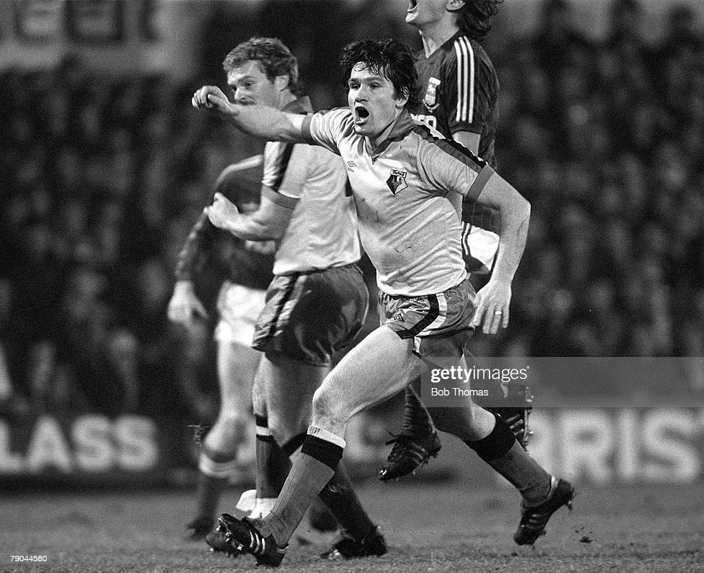 Football. English League Cup 5th Round. Ipswich, England. 18th January 1982. Ipswich Town 2 v Watford 1. Watford's Pat Rice celebrates a goal. : News Photo