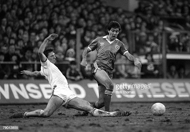 Football English League Division 1 16th January 1982 Brighton and Hove Albion 1 v West Ham United 0 Brighton striker Gordon Smith is tackled by West...