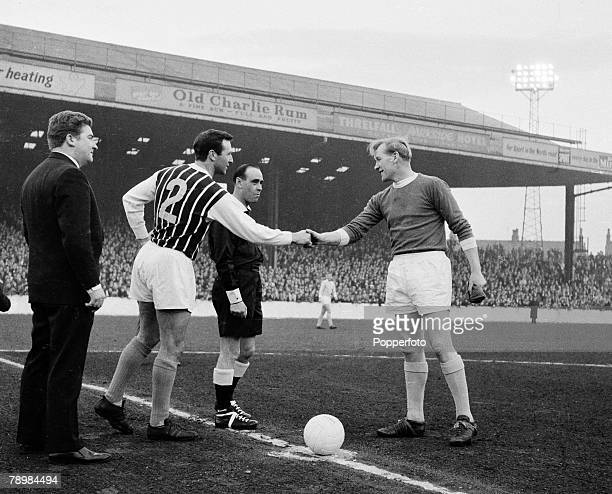 Football English League Division 1 Circa 1960 Manchester City v Blackpool Manchester City's captain Bert Trautmann greets Blackpool's Jimmy Armfield...