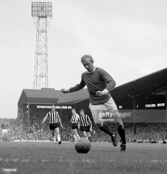 Football English League Division 1 Circa 1965 Old Trafford Manchester United v Newcastle United Dennis Law of Manchester United on the ball