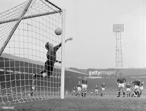 Football English League Division 1 Manchester United v Everton Phil Chisnall scores for Manchester United as the Everton goalkeeper attemps a save