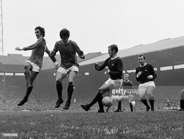 Football, English League Division 1, Old Trafford, Circa 1972, Manchester United v Arsenal, Manchester United's George Best and Willie Morgan causing...