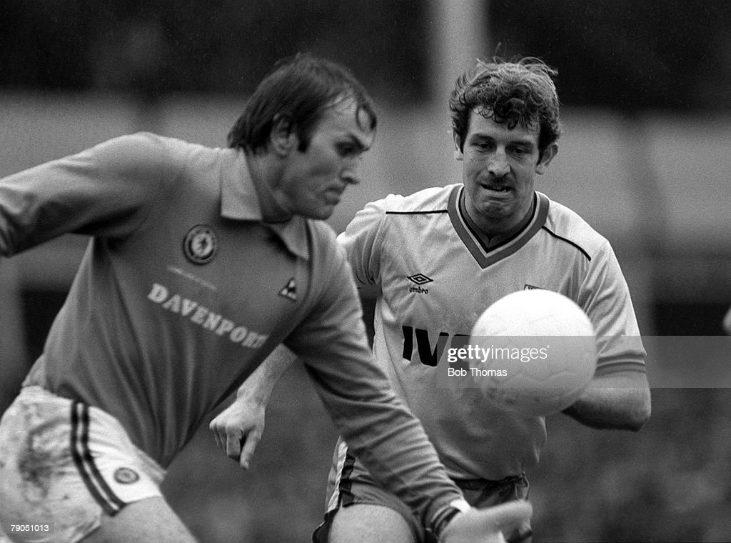 Football, English League Division One, 16th October 1982, Aston Villa 3 v Watford 0, Aston villa goalkeeper Jimmy Rimmer watched by Watford's Gerry Armstrong as he takes a goal kick