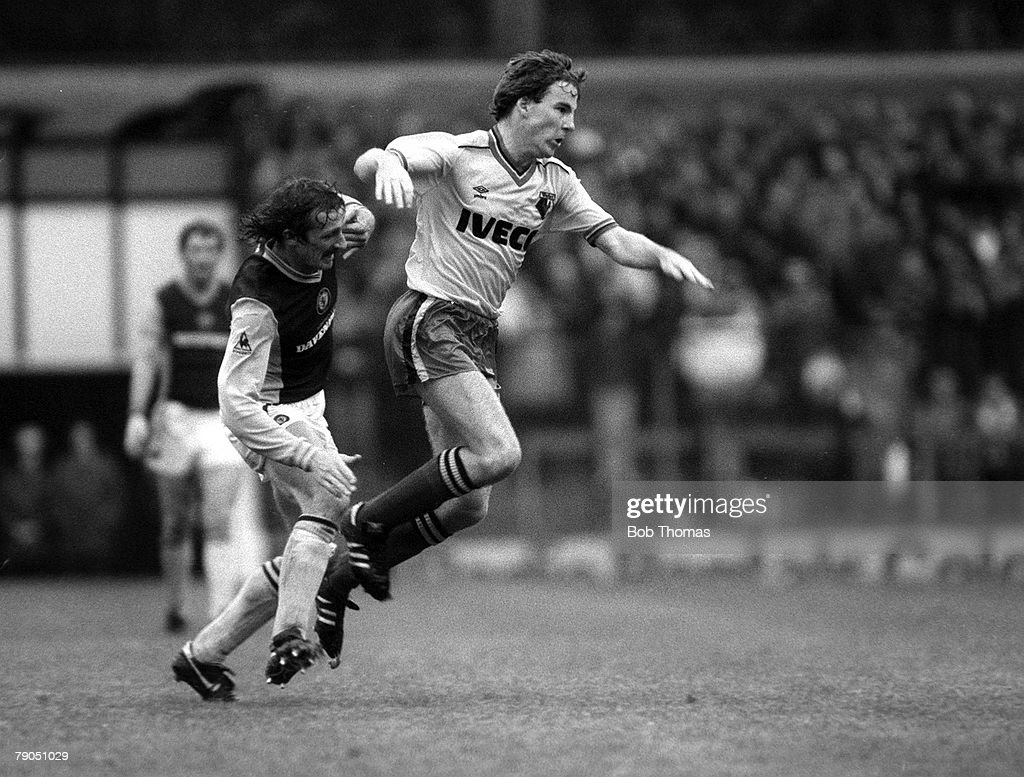 Football. English League Division One. 16th October 1982. Aston Villa 3 v Watford 0. Watford's Kenny Jackett clashes with Villa's Des Bremner. : News Photo