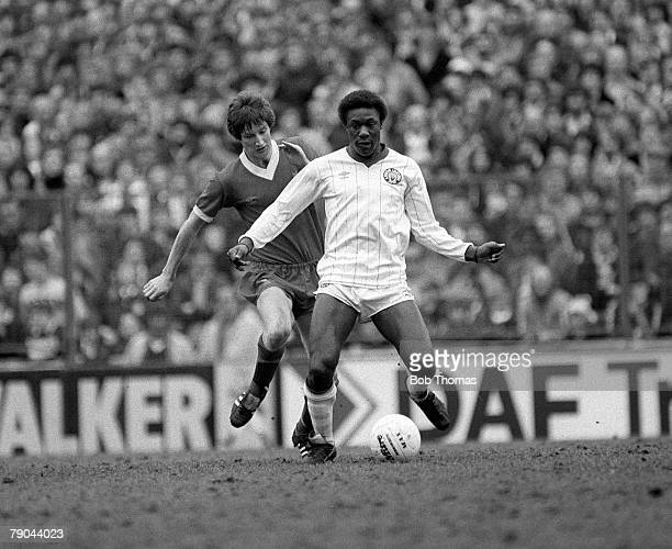 Football English League Division One Elland Road England 27th February 1982 Leeds United 0 v Liverpool 2 Leeds United striker Terry Connor is...