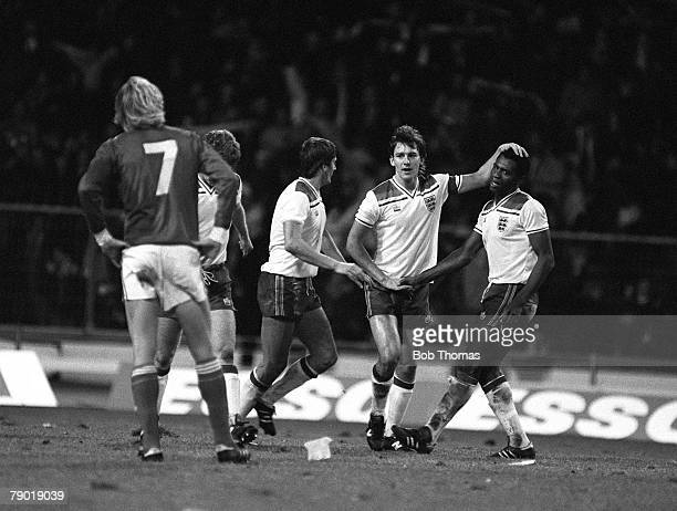 Football European Championship Qualifier Wembley 15th December 1982 England 9 v Luxembourg 0 England's striker Luther Blissett is congratulated by...