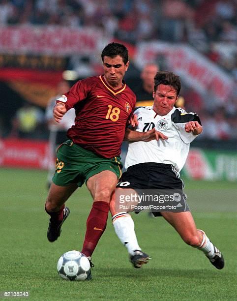 Football, European Championships , Feyenoord Stadium, Rotterdam, Holland, Portugal 3 v Germany 0, 20th June Portugal's Pauleta is tackled by...
