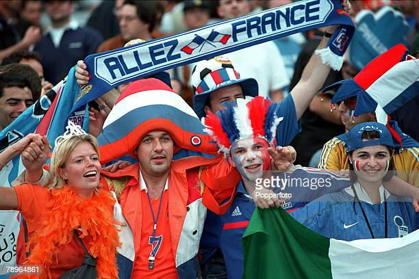 Football European Championships Final Feyenoord Stadium Rotterdam Holland France 2 v Italy 1 2nd July Fans of Holland France and Italy unite together...