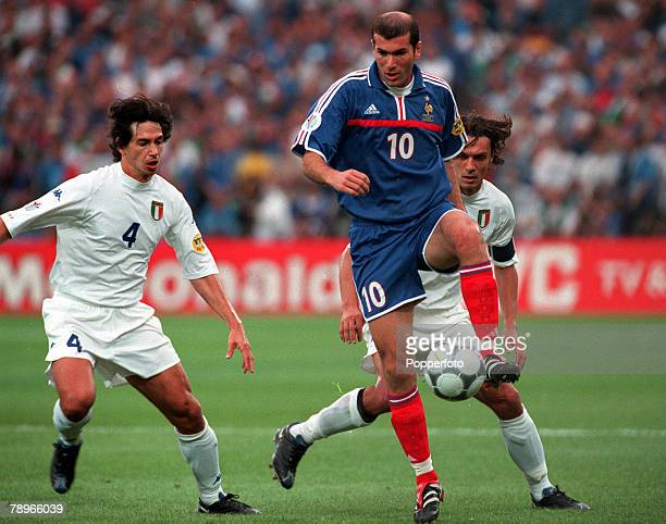Football European Championships Final Feyenoord Stadium Rotterdam Holland France 2 v Italy 1 2nd July Frances Zinedine Zidane is marked by Italys...