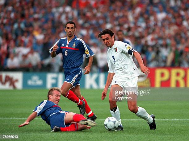 Football European Championships Final Feyenoord Stadium Rotterdam Holland France 2 v Italy 1 2nd July Frances Captain Didier Deschamps executes a...