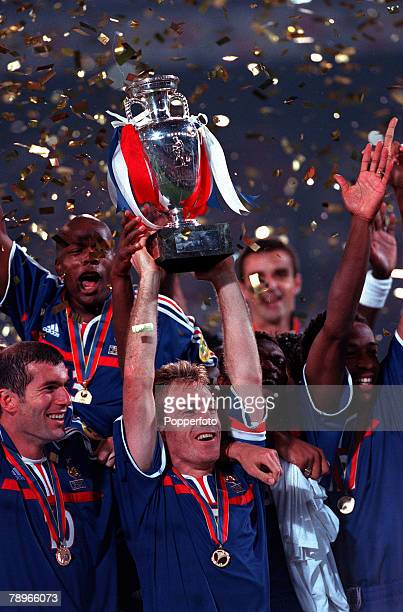 Football European Championships Final Feyenoord Stadium Rotterdam Holland France 2 v Italy 1 2nd July France captain Didier Deschamps holds the...