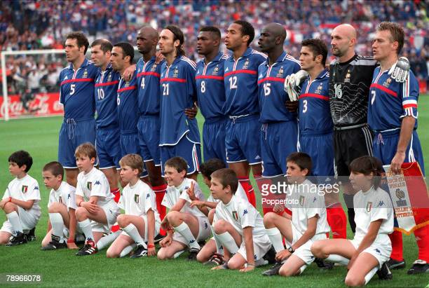 Football European Championships Final Feyenoord Stadium Rotterdam Holland France 2 v Italy 1 2nd July The France team lineup for the national anthems...