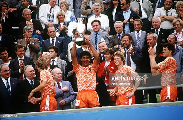 Football European Championships Final Munich West Germany 25th June 1988 Holland 2 v USSR 0 Holland's Frank Rijkaard raises the trophy