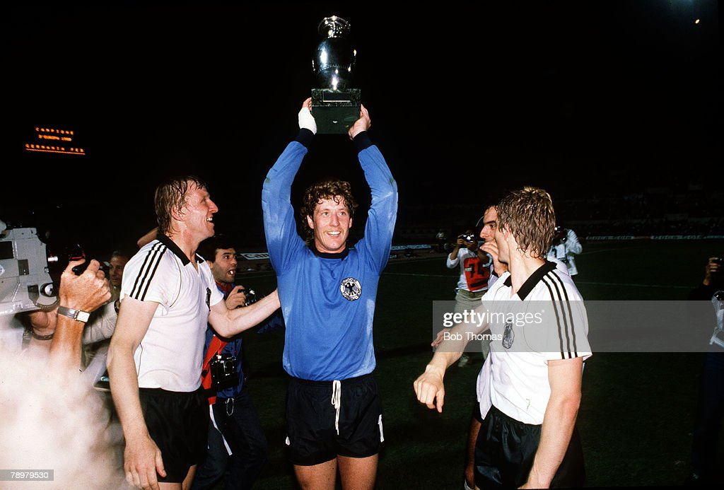 Football. European Championships. Final. Rome, Italy. 22nd June 1980. West Germany 2 v Belgium 1. West Germany's goalkeeper Harald Schumacher proudly holds aloft the trophy after the match. : News Photo