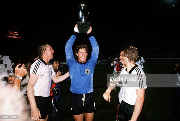Football European Championships Final Rome Italy 22nd June 1980 West Germany 2 v Belgium 1 West Germany's goalkeeper Harald Schumacher proudly holds...