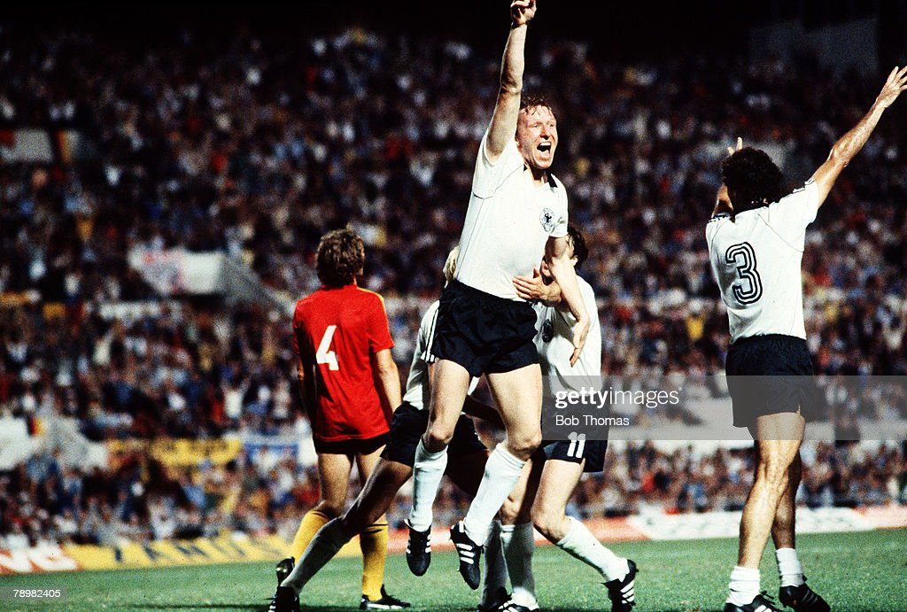 Football. European Championships. Final. Rome, Italy. 22nd June 1980. West Germany 2 v Belgium 1. West Germany's Horst Hrubesch celebrates after scoring the winning goal. : News Photo