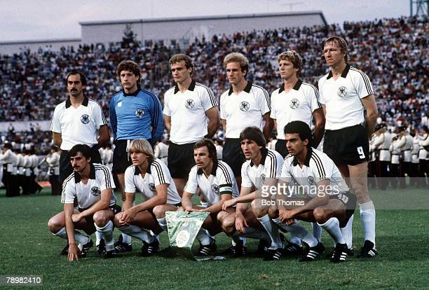 Football European Championships Final Rome Italy 22nd June 1980 West Germany 2 v Belgium 1 The West Germany team group photograph before the match