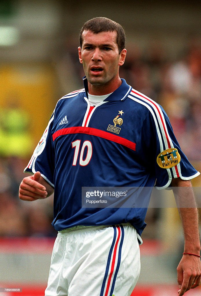 Football. European Championships (EURO 2000). Jan Breydel Stadium, Bruges, Belgium. France 3 v Denmark 0. 11th June, 2000. France+s Zinedine Zidane during the match. : News Photo