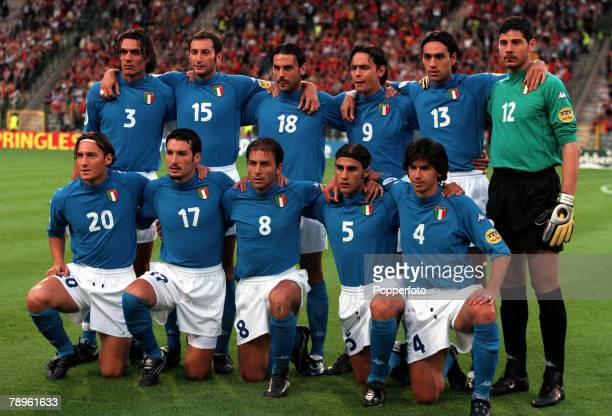 Football European Championships King Baudouin Stadium Brussels Belgium Italy 2 v Belgium 0 14th June A group picture of the Italian team Pictured...