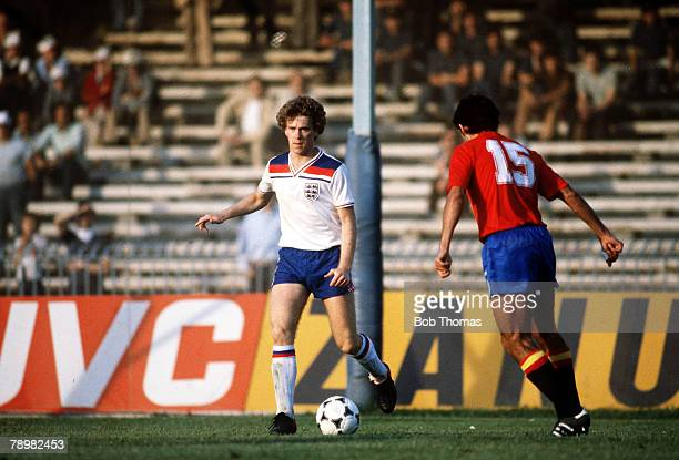 Football European Championships Naples Italy 18th June 1980 England 2 v Spain 1 England's Tony Woodcock on the ball during their Group Two match