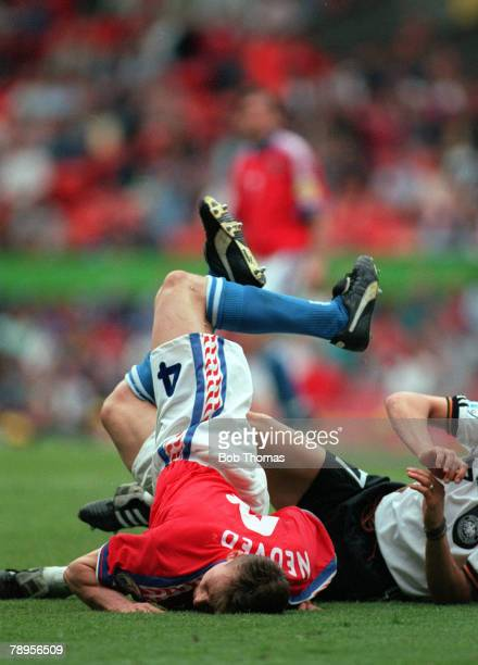 Football European Championships Old Trafford Manchester England 9th June 1996 Germany 2 v Czech Republic 0 Czech Republic's Pavel Nedved falls in an...