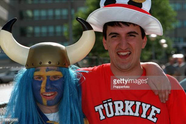 Football European Championships Philips Stadium Eindhoven Holland Sweden 0 v Turkey 0 15th June Swedish and Turkish fans embrace before the match