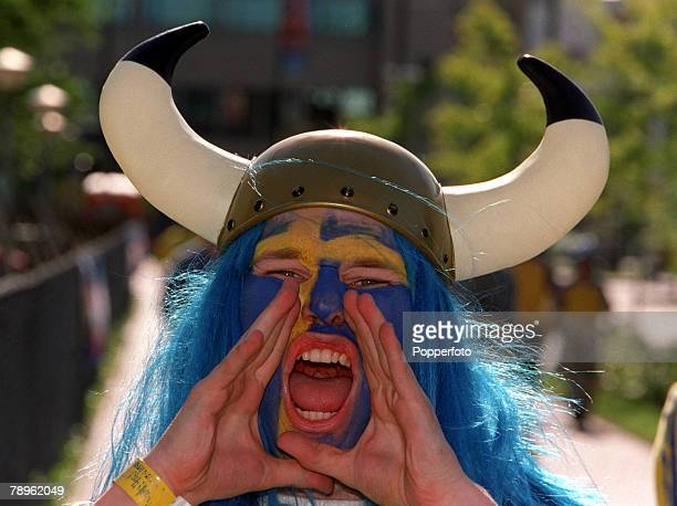 Football European Championships Philips Stadium Eindhoven Holland Sweden 0 v Turkey 0 15th June An enthusiastic Swedish fan with his face painted in...