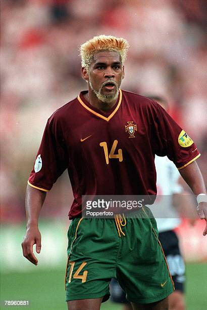 Football European Championships Philips Stadium Eindhoven Holland Portugal 3 v England 2 12th June Portugals Abel Xavier sporting bleached blonde hair