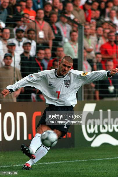 Football, European Championships , Philips Stadium, Eindhoven, Holland, Portugal 3 v England 2, 12th June England's David Beckham whips in the cross...
