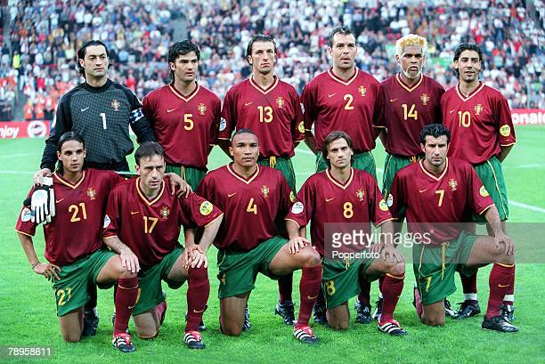 Football European Championships Portugal v England Eindhoven Holland12th June Portugal Team lineup from left to right Vitor Baia Fernando Couto Dimas...