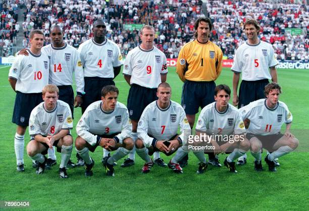 Football European Championships Portugal v England Eindhoven Holland12th June England Football Team Group from left to right Michael Owen Paul Ince...