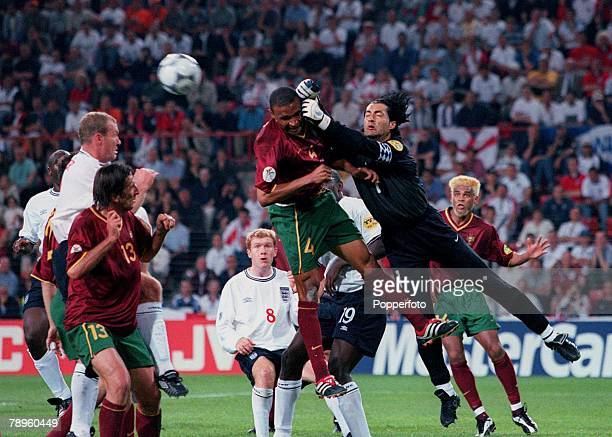 Football, European Championships, ,Portugal v England , Eindhoven, Holland,12th, June Portugal goalkeeper, Vitor Baia, punches clear from team-mate...