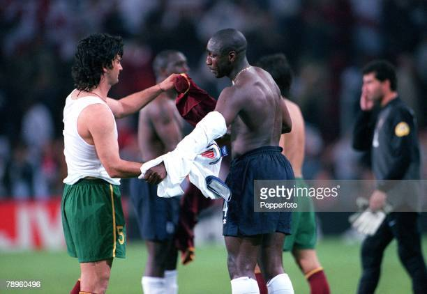 Football European Championships Portugal v England Eindhoven Holland12th June England's Sol Campbell exchanges shirts with Portugal's Fernando Couto...