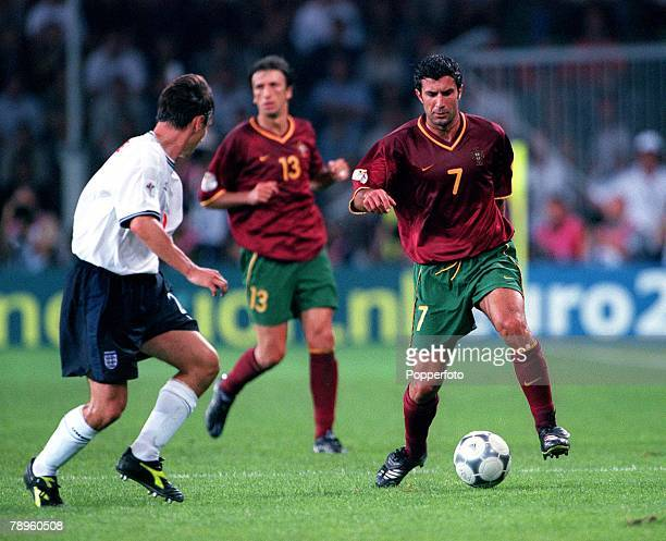 Football, European Championships, ,Portugal v England , Eindhoven, Holland,12th, June Portugal's Luis Figo, scorer of their first goal attempts to...