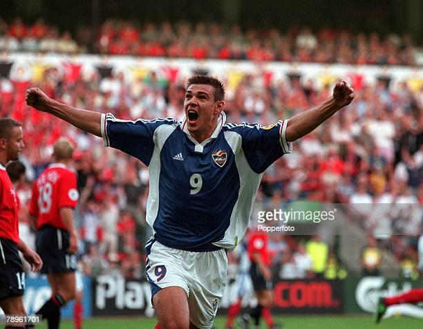 Football, European Championships , Sclessin Stadium, Liege, Belgium, Yugoslavia 1 v Norway 0, 18th June Yugoslavia+s Savo Milosevic celebrates after...