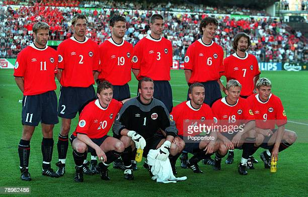 Football European Championships Sclessin Stadium Liege Belgium Yugoslavia 1 v Norway 0 18th June The Norway team line up prior to the match for a...