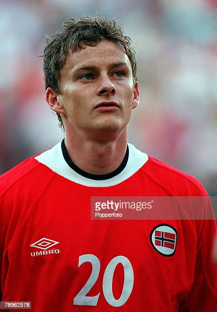 Football European Championships Sclessin Stadium Liege Belgium Yugoslavia 1 v Norway 0 18th June A portrait of Norways Ole Gunnar Solskjaer