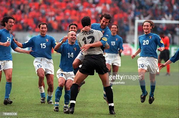 Football, European Championships , Semi-Final, Amsterdam Arena, Holland, Italy 0 v Holland 0 , 29th June The Italian team rush to mob goalkeeper...