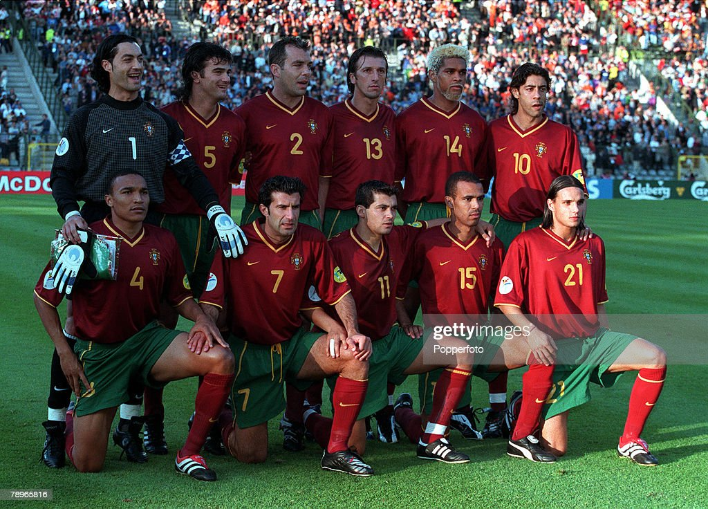 Football. European Championships (EURO 2000). Semi-Final. King Baudouin Stadium, Brussels, Belgium. France 2 v Portugal 1 (on golden goal). 28th June, 2000. The Portugal team pose for a group photograph. Back Row L-R: Goalkeeper Vitor Baia, Fernando Couto : News Photo