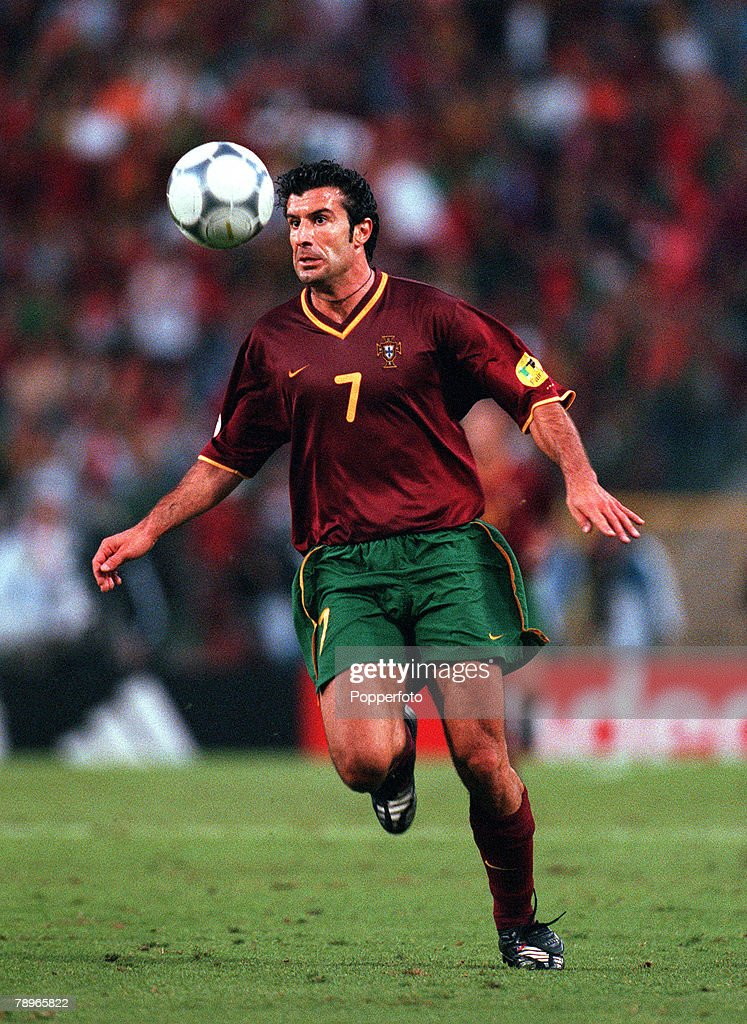 Football, European Championships (EURO 2000), Semi-Final, King Baudouin Stadium, Brussels, Belgium, France 2 v Portugal 1 (on golden goal), 28th June, 2000, Portugal+s Luis Figo attempts to control the ball