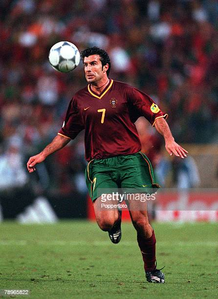 Football European Championships SemiFinal King Baudouin Stadium Brussels Belgium France 2 v Portugal 1 28th June Portugals Luis Figo attempts to...