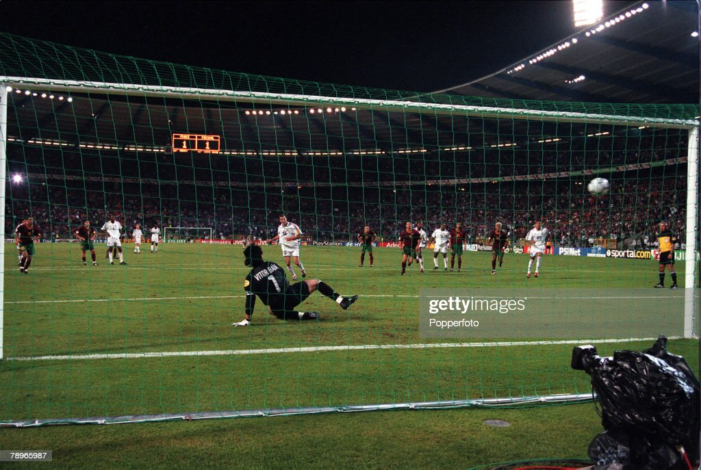 Football, European Championships (EURO 2000), Semi-Final, King Baudouin Stadium, Brussels, Belgium, France 2 v Portugal 1 (on golden goal), 28th June, 2000, France+s Zinedine Zidane sends Portugal goalkeeper Vitor Baia the wrong way from the penalty spot, and scores the golden goal that takes France through to the final