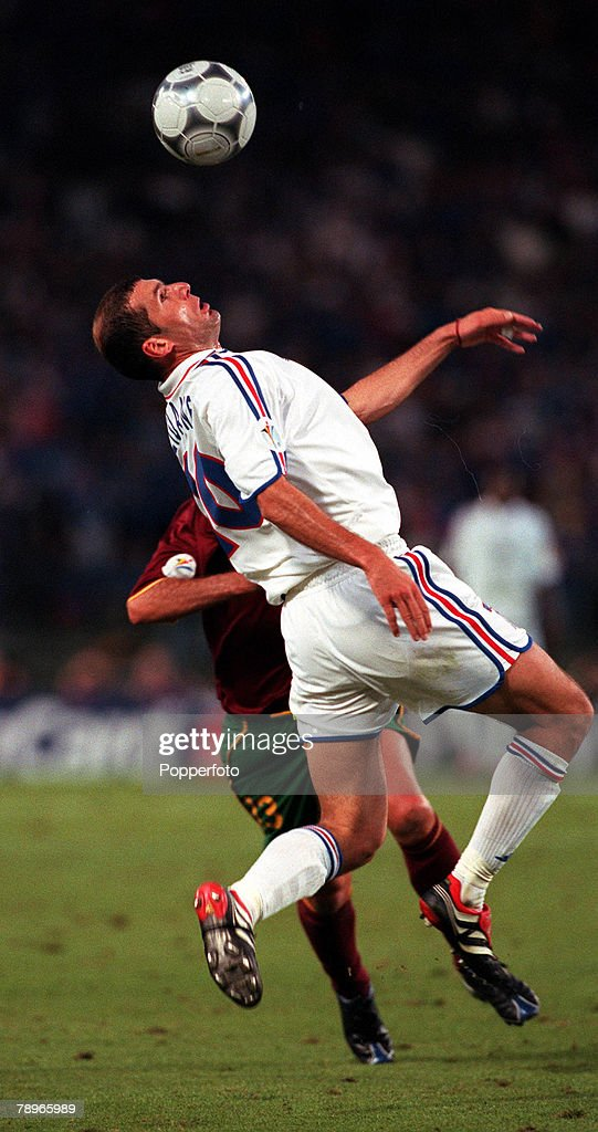 Football, European Championships (EURO 2000), Semi-Final, King Baudouin Stadium, Brussels, Belgium, France 2 v Portugal 1 (on golden goal), 28th June, 2000, France+s Zinedine Zidane attempts to control the ball under challenge from Portugal+s Dimas
