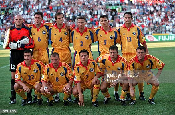 Football European Championships Stade du Pays de Charleroi Belgium England 2 v Romania 3 20th June The Romanian team line up for a group photograph...