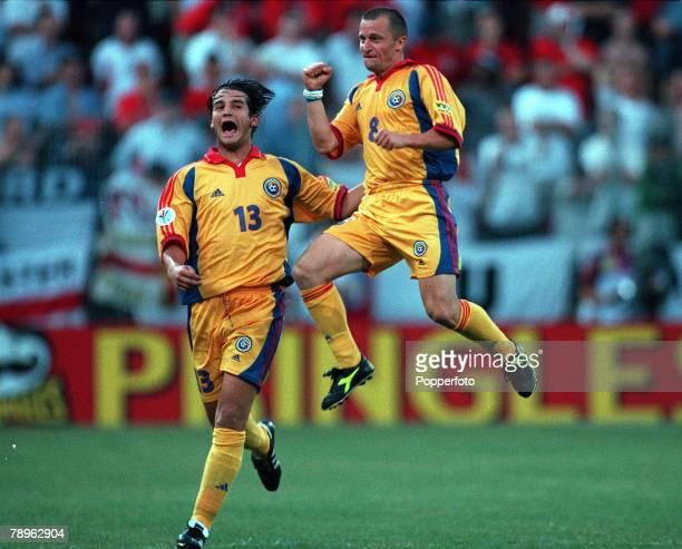 Football, European Championships , Stade du Pays de Charleroi, Belgium, England 2 v Romania 3, 20th June Romania+s Dorinel Munteanu jumps for joy...